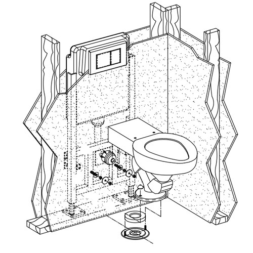 Metaal Toilet Configured for In-Wall Flushing System