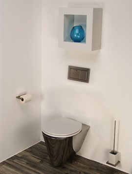 Mini Loo Wall Hung Toilet Configured for In-Wall Flushing System
