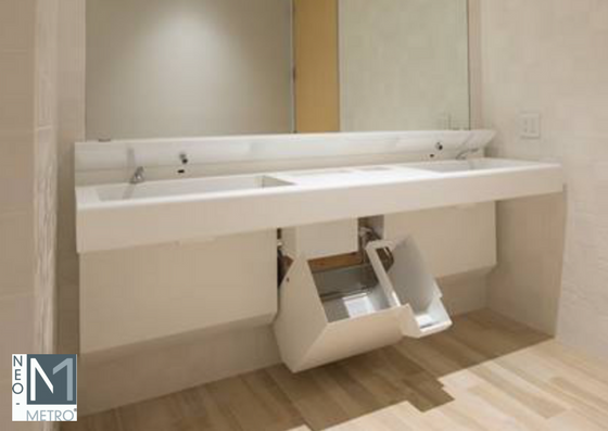 sink console with access panel for trash