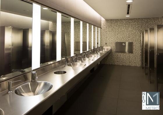 multi basin stainless steel sink in National September 11 Memorial Museum in New York City