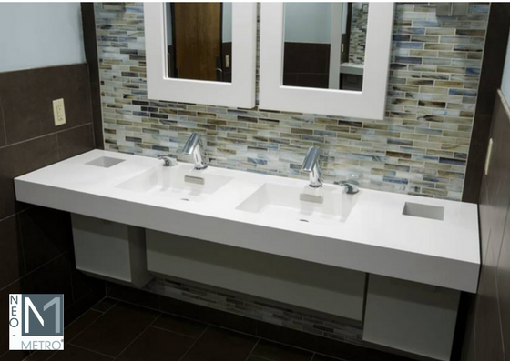 easy to clean solid surface console for public and commercial restrooms