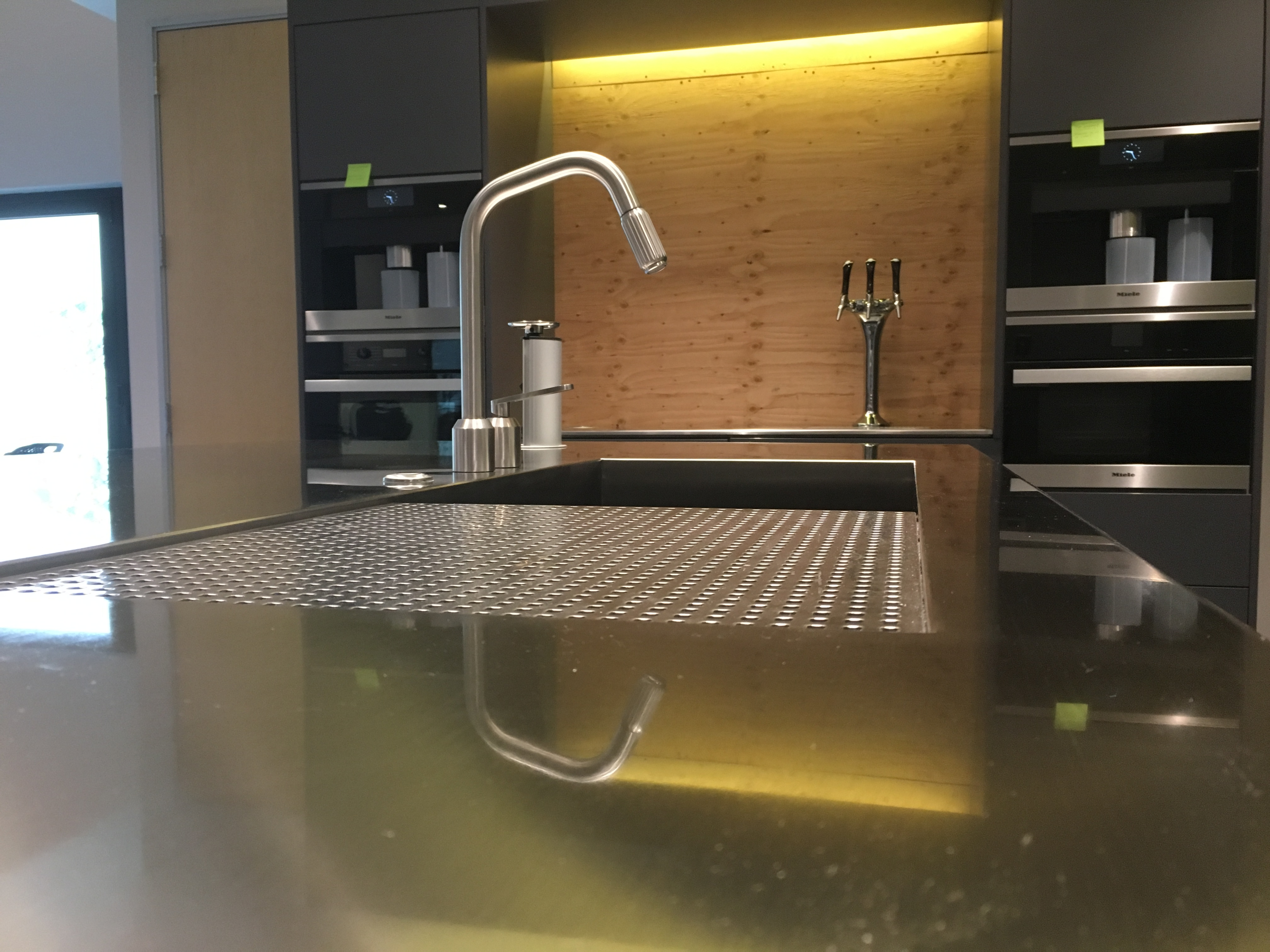 ... Neo Metro Custom Manufactured Stainless Steel Island In An Office  Kitchen (Removable Perforated Grate Over Sink) With Coffee Bar In ...