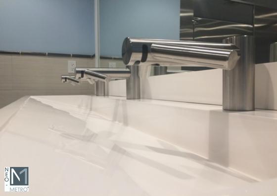 Ebb Basin with Dyson Hands Free faucet/dryer fit Universal Design principles for public restrooms