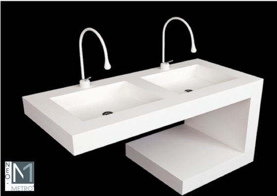 vandal resistant  solid surface custom sink and counter for public restrooms