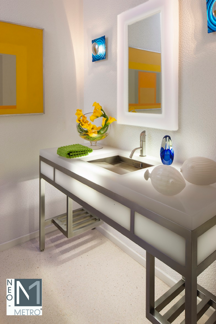 easy to repair restroom fixture: resin countertop with LED lighting