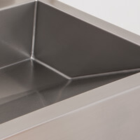 stainless steel trough sink with angled basin